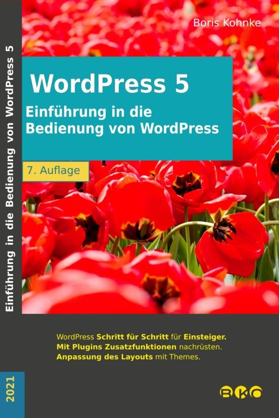 Cover Einführung in die Bedienung von WordPress 5.7