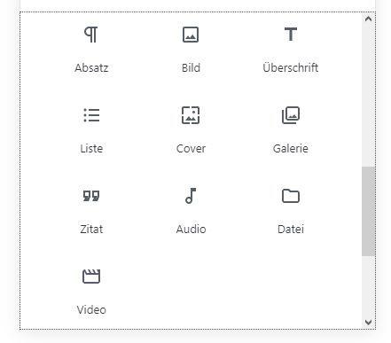 Gutenberg allgemeine Blocktypen