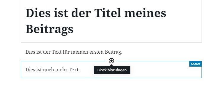 Gutenberg neuen Block einfügen WordPress
