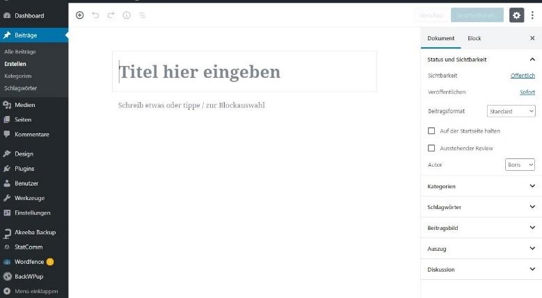 WordPress Gutenberg Beitrag erstellen 1