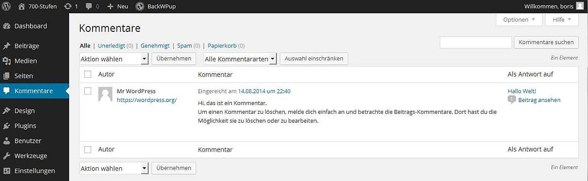 Wordpress - Kommentare