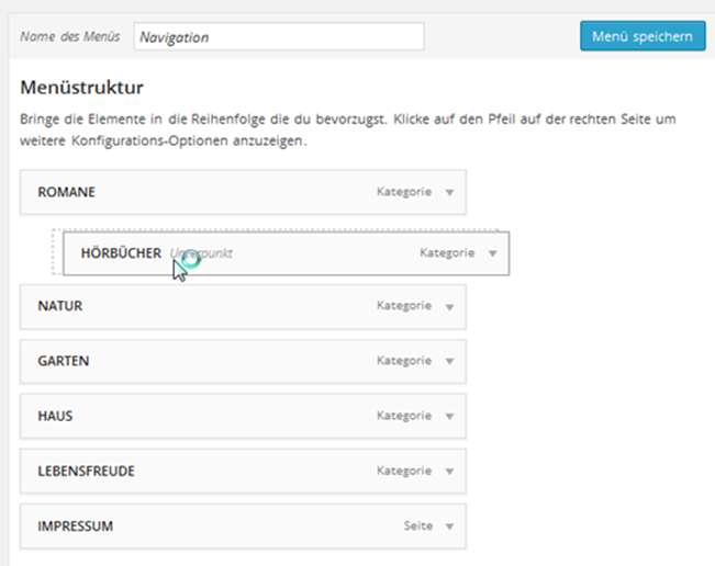 Wordpress - zweite Navigationsebene